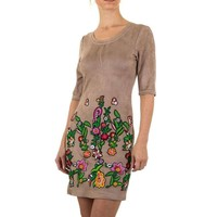 Damen Kleid blühte - khaki