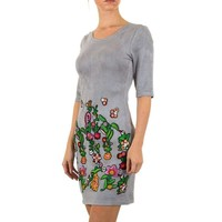 Damen Kleid geblümt - grau