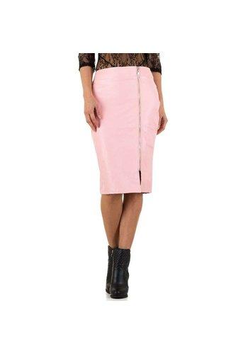 NOEMI KENT Damen Bleistiftrock mit Lederoptik - pink