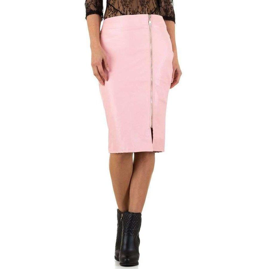 Damen Bleistiftrock mit Lederoptik - pink