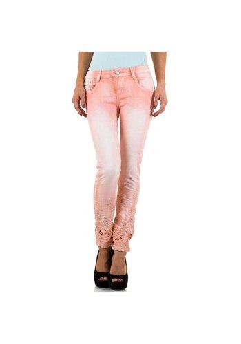 Mozzaar Dames Jeans met kante onderkant - roze