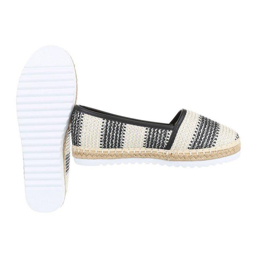 Damen Espadrilles - schwarz / beige