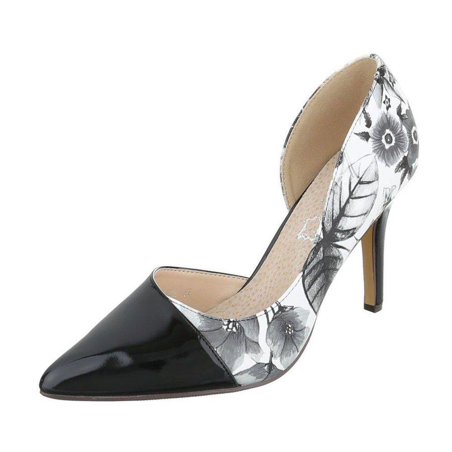 Damen High Heels geblümt - schwarz / weiß