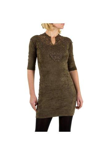 Neckermann Damenkleid mit Spitze - khaki