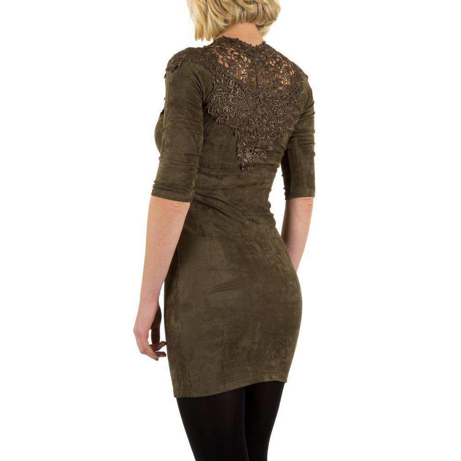 Damenkleid mit Spitze - khaki