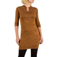 Damenkleid mit Spitze - Kamel