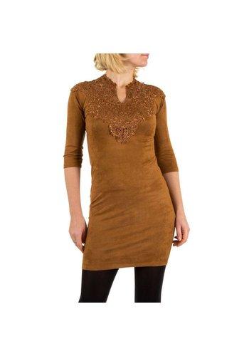 Neckermann Damenkleid mit Spitze - Kamel