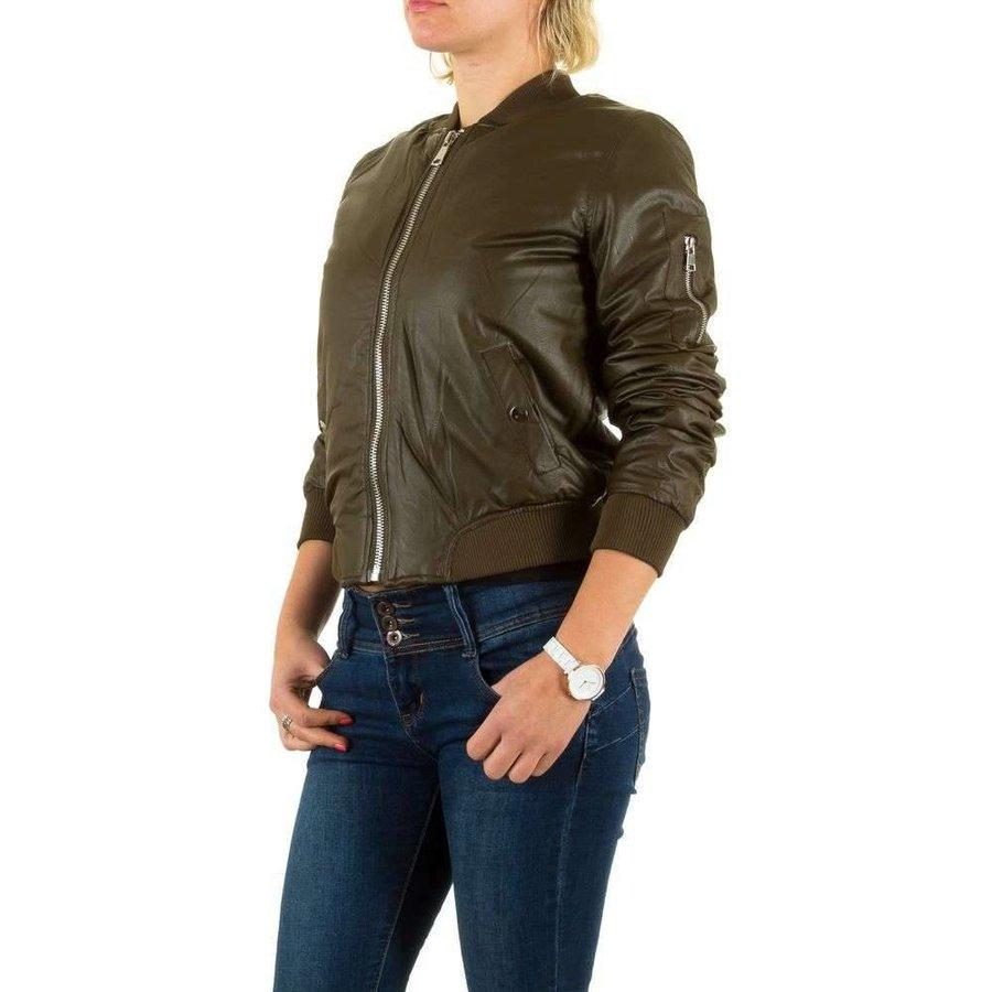 Kurze Lederoptik Damenjacke - Khaki