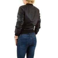 Kurzer Lederlook Damenjacke - schwarz