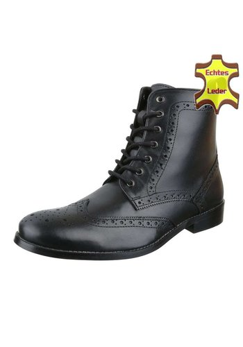 COOLWALK Herren Leder Stiefeletten - schwarzes Leder