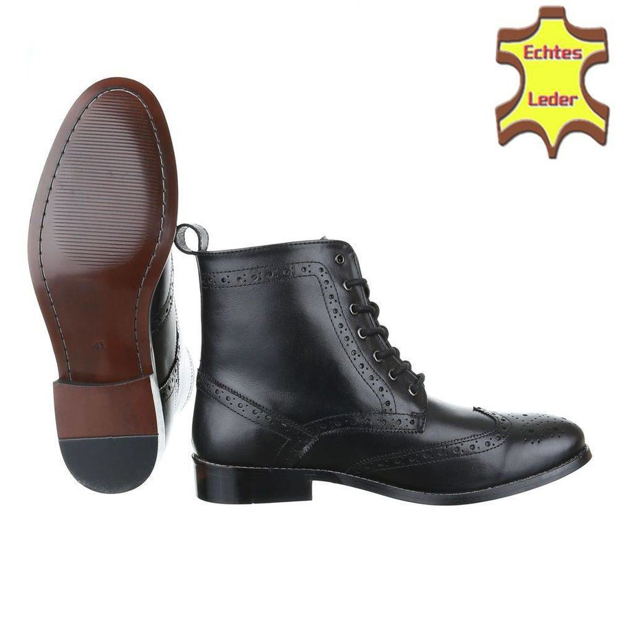 Herren Leder Stiefeletten - schwarzes Leder