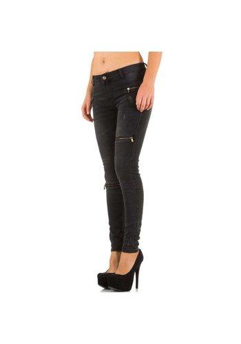 HELLO MISS Damen Jeans mit Reißverschlüssen - DK.grau