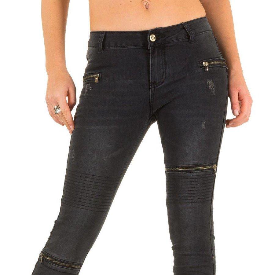 Damen Jeans mit Reißverschlüssen - DK.grau