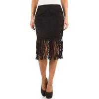 Damenrock mit Fransen - schwarz