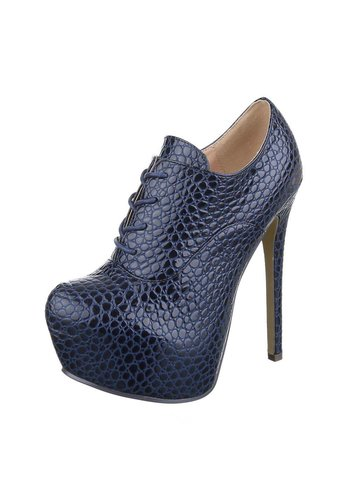 Neckermann Dames Stiletto met reptiel print-  DK.blauw