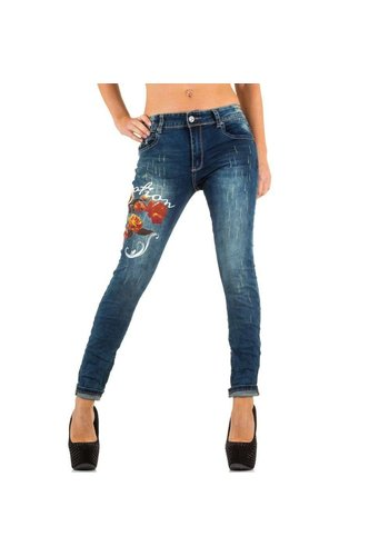 Mozzaar Damen Jeans mit Rosenmotiv - blau