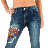 Damen Jeans mit Rosenmotiv - blau