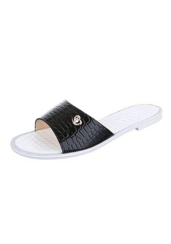 Neckermann Damen Slipper mit Lederoptik - schwarz