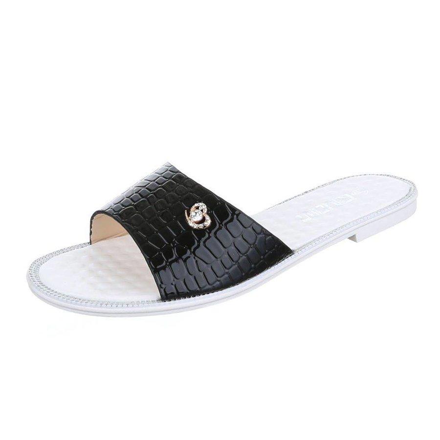 Damen Slipper mit Lederoptik - schwarz