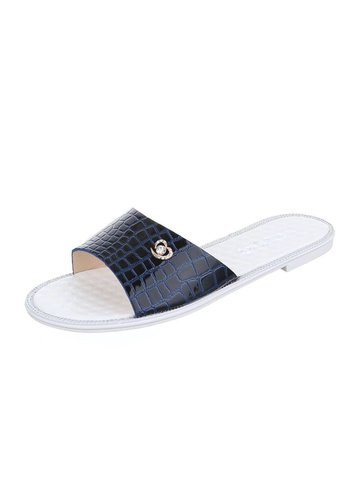 Neckermann Dames slipper met lederlook - D.blauw