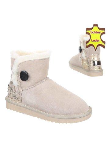 NO NAME Leren dames Boots - beige