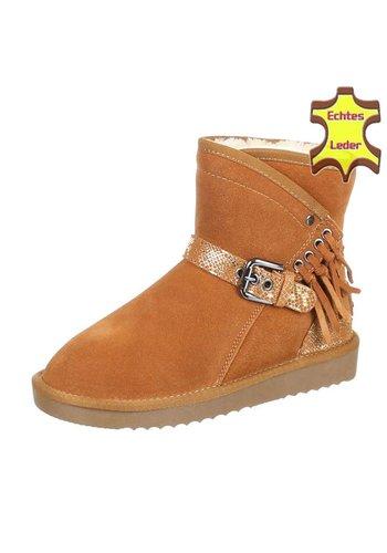 NO NAME Leren dames Boots met gesp - camel