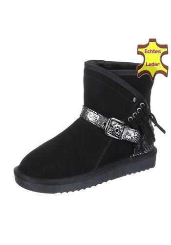 NO NAME Leder Damen Stiefel mit Schnalle - schwarz