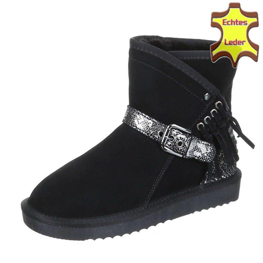 Leder Damen Stiefel mit Schnalle - schwarz