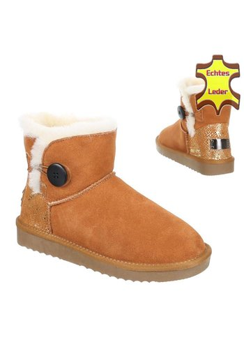 NO NAME Leder Damen Stiefel - Kamel