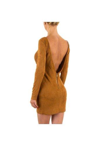 JCL Robe pour femme à dos nu - camel