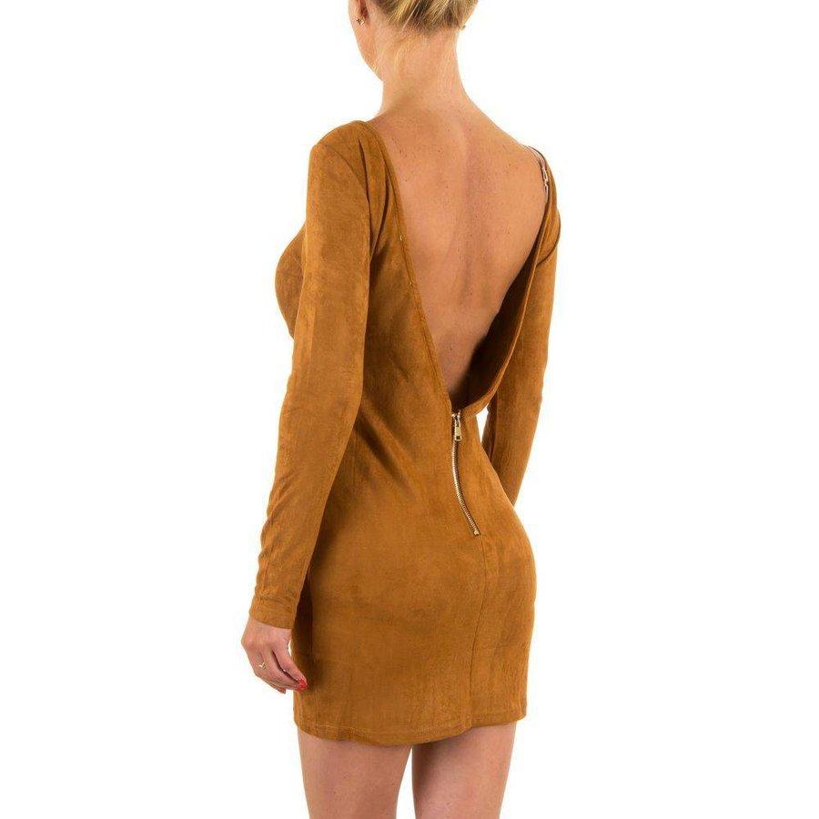 Damen Kleid mit nacktem Rücken - Kamel