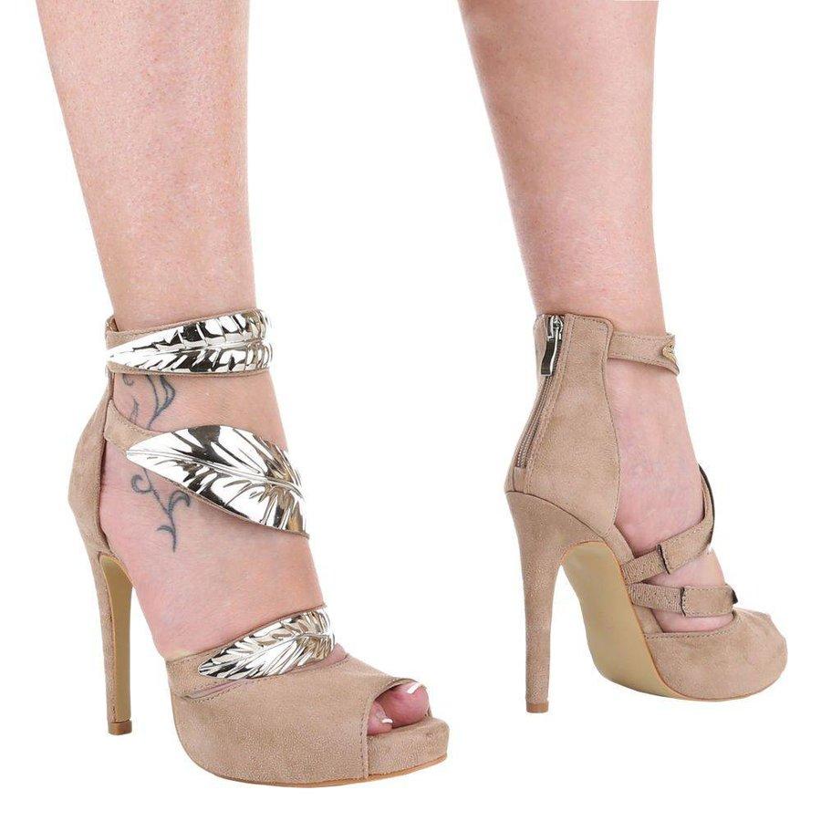 Ladies Open High Heel - khaki