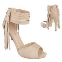 Damen offen hoher Schuh - beige