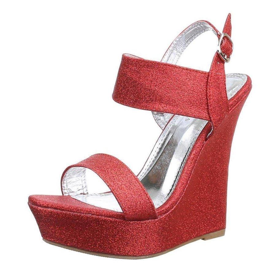 Damen Open Schuh mit Keilabsatz - rot