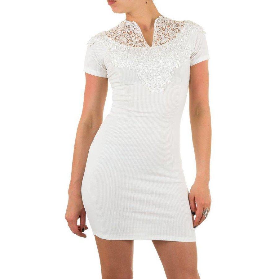 Damen Kleid mit Spitze - weiß