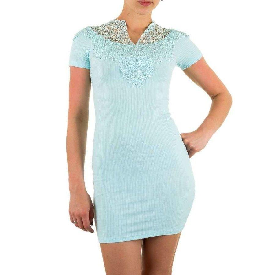 Damen Kleid mit Spitze - türkis