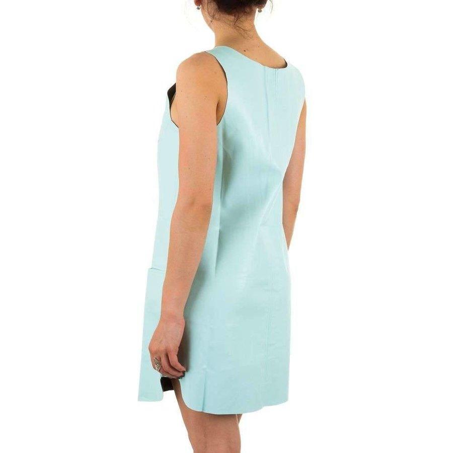 Damen Lederlook Kleid - L.groen