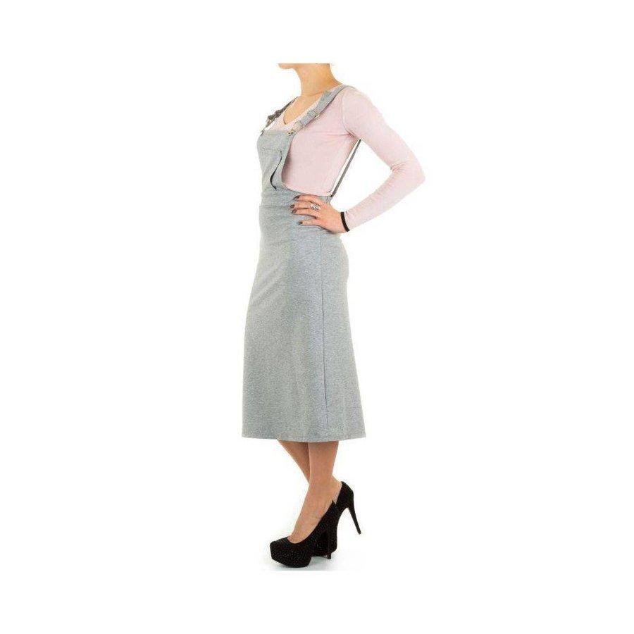 Ladies Latzhose Kleid - grau