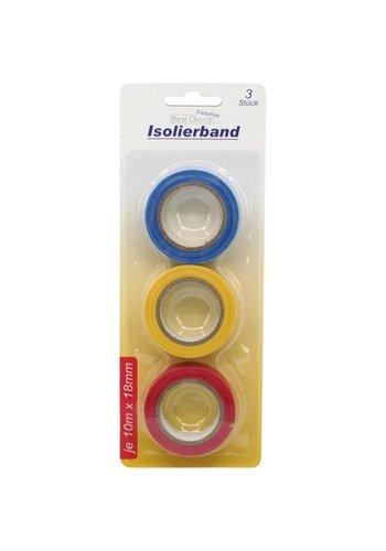 Best Choice Klebeband Isolierband 3 Rolle in drei Farben 18mmx10m