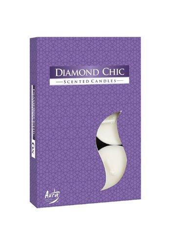 Aura Bougies chauffe-plat avec parfum Diamond Chic - 6 pièces - emballage de luxe