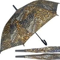 Regenschirm 110cm Stock Automatik Leopard-Look