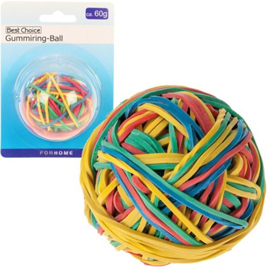 Gummibänder-Ball 60gr. Regenbogenfarben