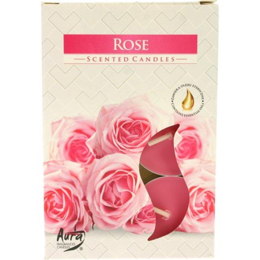 Teelichter mit Duft Rose - 6 Stück - Luxusverpackung