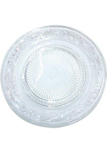 Neckermann Glazen plaat  voor dessert bord van 22,5 cm met reliëfstructuur