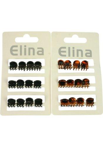 Elina Haar klem mini 12 stuks zwart u. bruin soort. 1x1cm