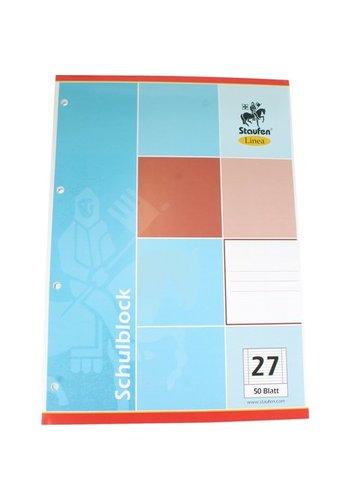 Staufen Schreibblock DIN A4 50 Bl. Zeilen Papier 27 + 4 Dateien Löcher