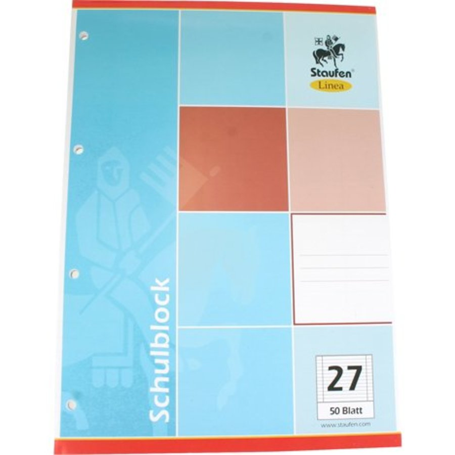 Schreibblock DIN A4 50 Bl. Zeilen Papier 27 + 4 Dateien Löcher
