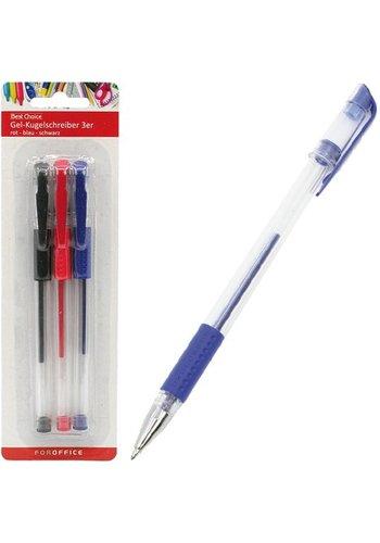 Best Choice Kugelschreiber - Gel - rot, blau und schwarz - 3 Stück