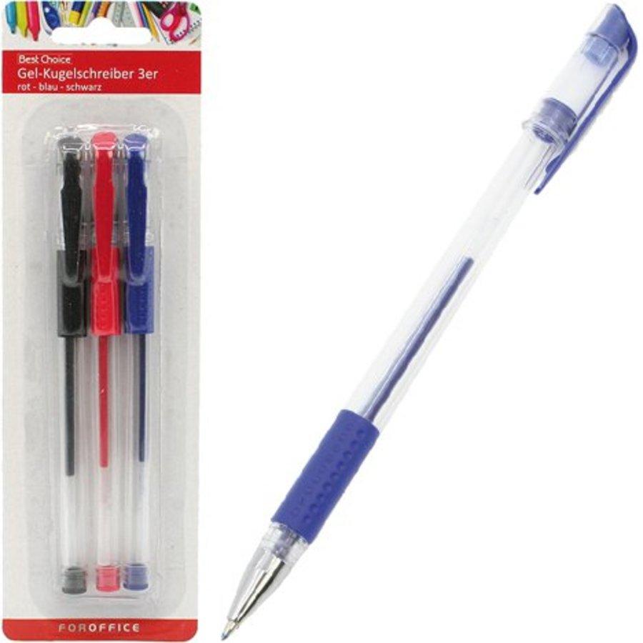 Kugelschreiber Gel 3 Farben rot, blau und schwarz