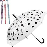Transparenter Regenschirm mit Tupfen 74cm in verschiedenen Farben